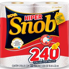 Papel Toalha 240 folhas hiper Snob com 2 unidades