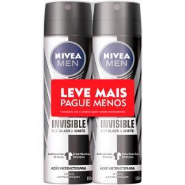2 Desodorantes men invisible black & white Nivea aerossol Leve Mais Pague menos 300ml