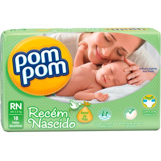 Fralda descartável RN Amor de Mãe Pom Pom 18 unidades - Imagem em destaque
