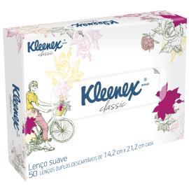 Lenço Kleenex proteção caixa decorada com 50 unidades
