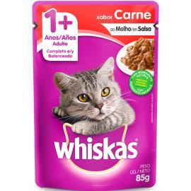 Alimento para gatos sabor carne ao molho Whiskas 85g