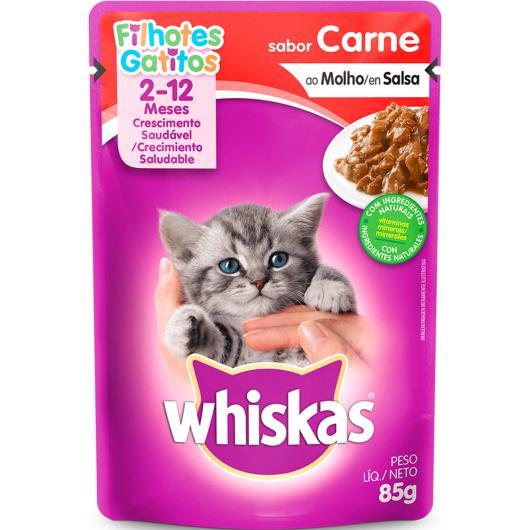 Alimento para gatos Whiskas carne ao molho  Filhotes 85g - Imagem em destaque