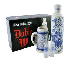 Kit 1 Steinhaeger Doble W Luxo 1 Litro + 1 Caneca + 2 Cá