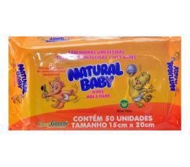Lenço umedecido Natural Baby com 50 unidades
