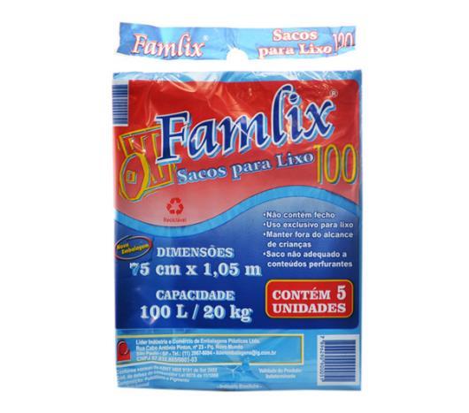Saco de lixo Famlix azul 100 Litros - Imagem em destaque