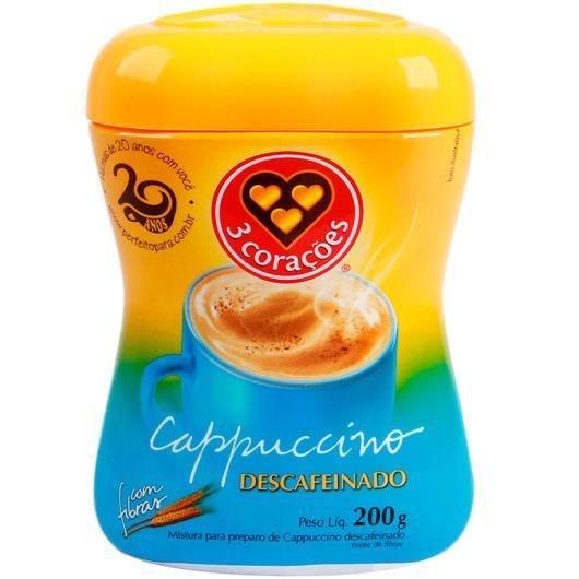 Cappuccino 3 Corações Descafeinado com fibras 200g - Imagem em destaque